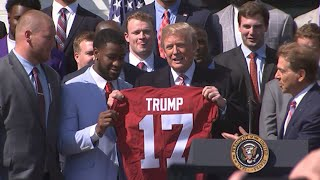 Trump Hosts NCAA Football Champs at White House