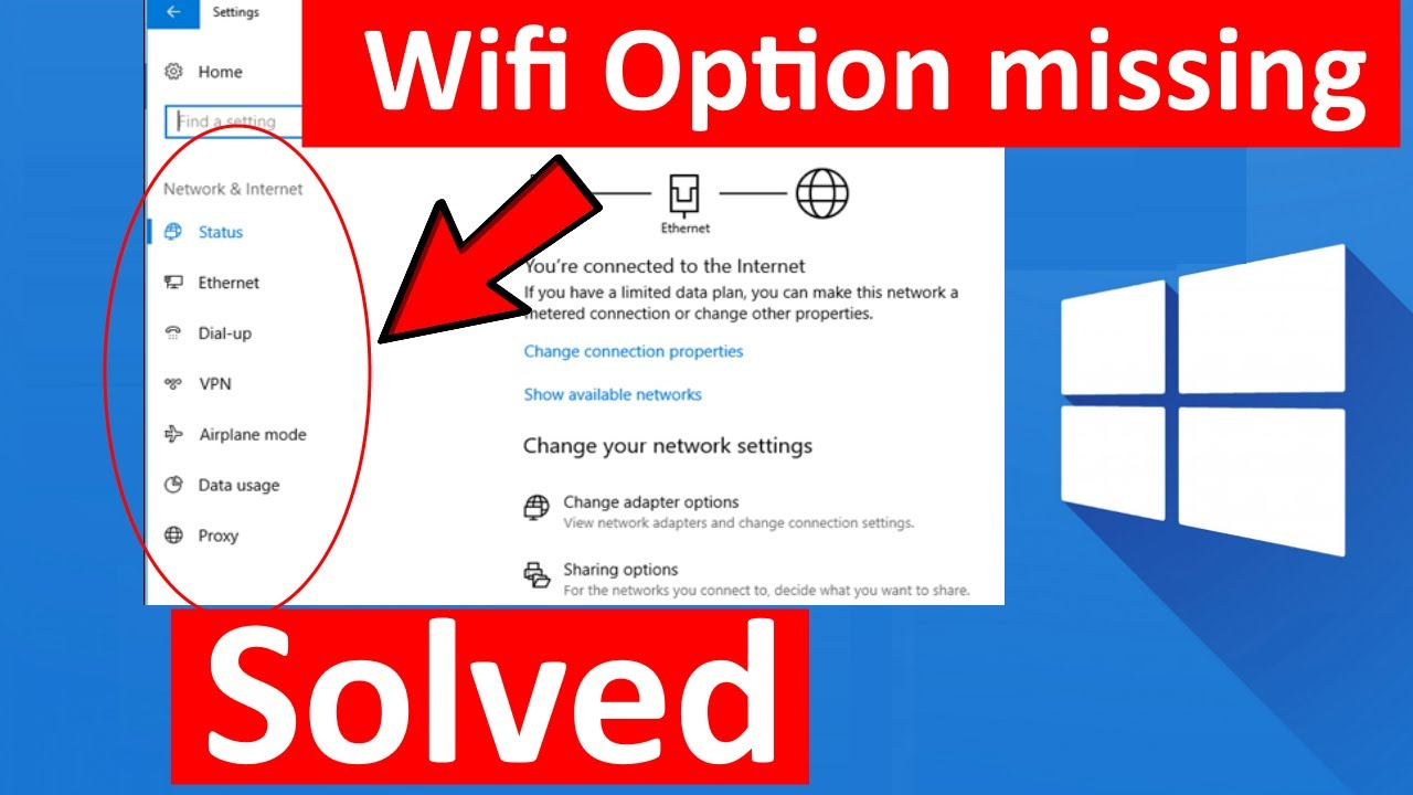 Wifi Option not showing in Settings on Windows 10