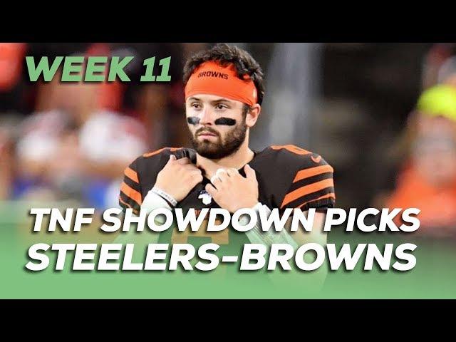 WEEK 11 THURSDAY NIGHT FOOTBALL NFL DFS SHOWDOWN PICKS - Steelers-Browns - Awesemo.com