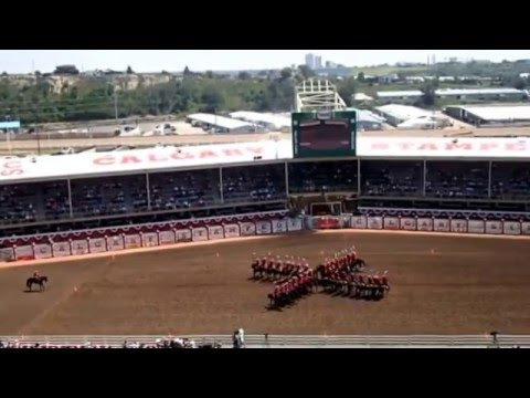 Royal Canadian Mounted Police in a Mounted Musical Ride at the Calgary Stampede 2014
