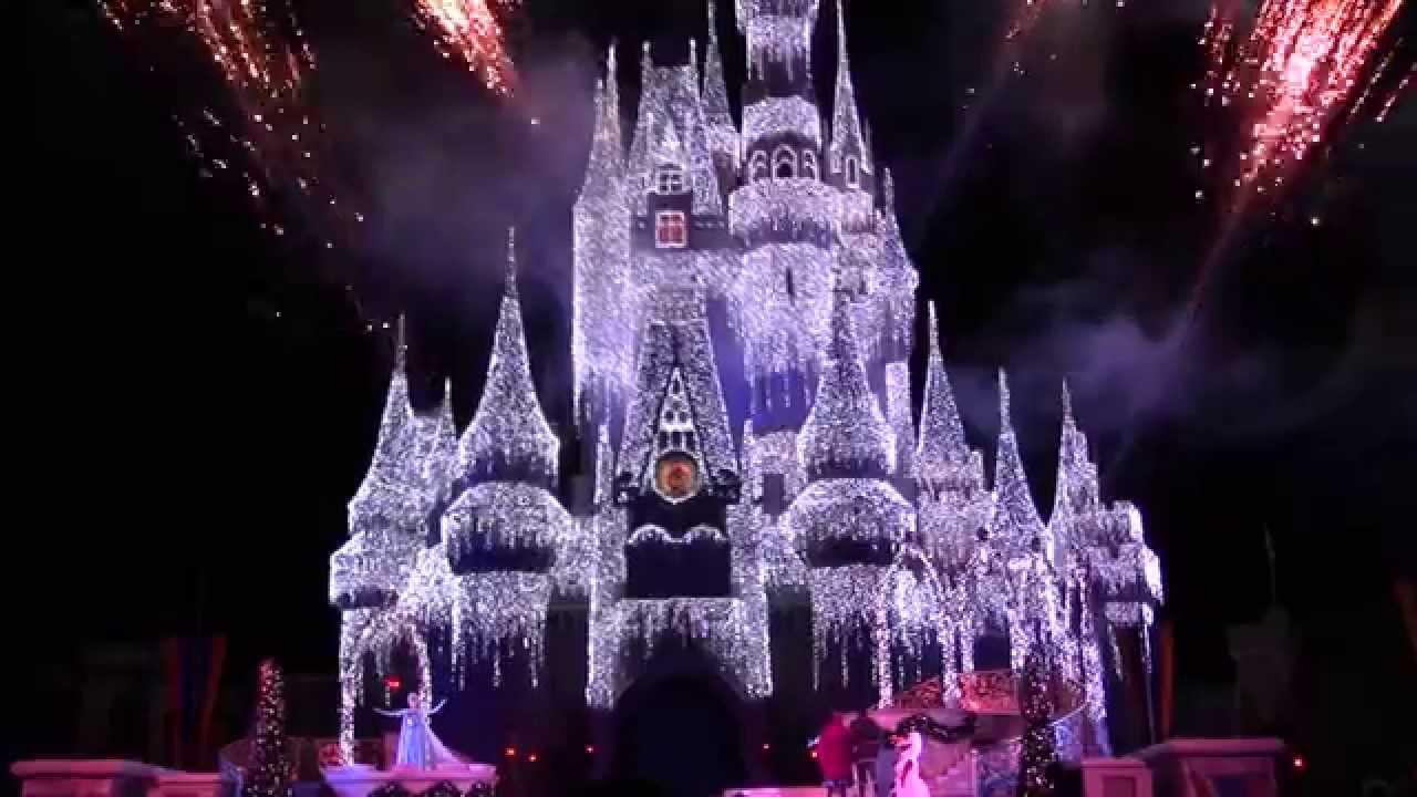 A Frozen Holiday Wish Magic Kingdom Castle Lighting 2014