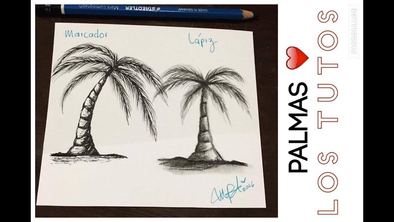 como dibujar palmas lapiz vs marcador how to draw palms