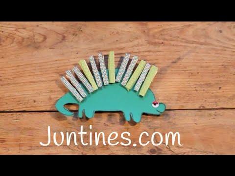Cómo hacer un dinosaurio con solo cartulina y pinzas