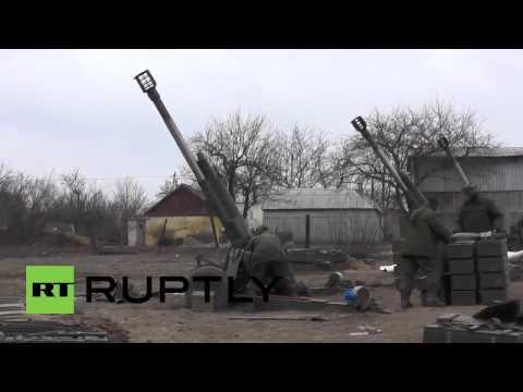 Батарея российских 2Б16 «Нона-К» (Дебальцево, февраль 2015)