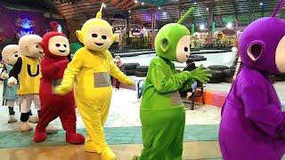 Cosplay Upin Ipin & Cosplay Teletubbies JOGET DJ SPONGEBOB & KU PUJA PUJA DI THEMEPARK GOFUN