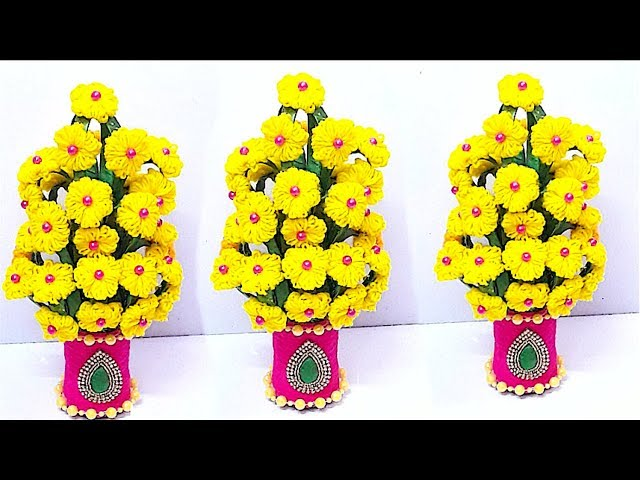DIY-Wool Flower Guldasta/flower vase from plastic bottle at home|Best out of waste |DIY Flower pot