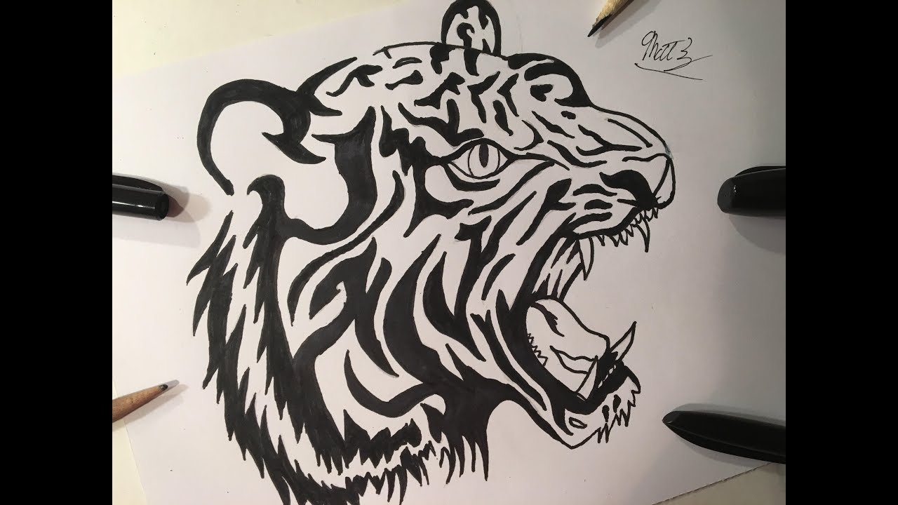 Tattoo Drawing Easy: How To Draw A Tiger Tattoo (TATTOO ART) (REAL EASY