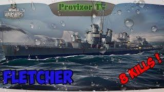 WoWs Fletcher эсминец 9 уровня 8 kills
