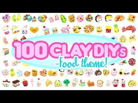 100 CLAY DIYs- FOOD Theme! -Polymer Clay Compilation!