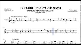 29 Popurrí Mix Villancicos Partituras de Flauta Noche de Paz Gatatumba Los Peces en el Río