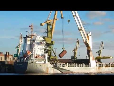 Выгрузка сыпучих из контейнеров. Большой порт Санкт-Петербург