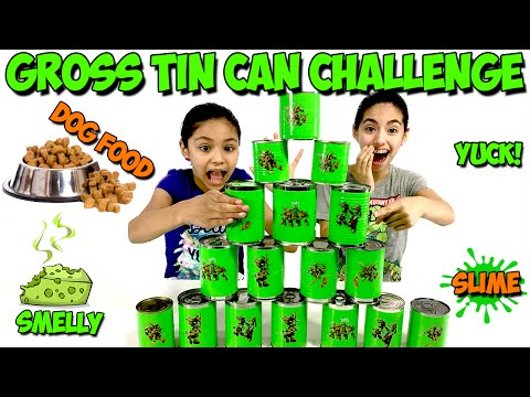TIN CAN CHALLENGE | I ATE DOG FOOD YUCK! | Gross Surprise Foods