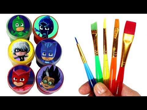 PJ Masks Painting Learn Colors with Cat Boy Gekko Owlette Toys & PJ Masks Fun Kinetic Sand for Kids