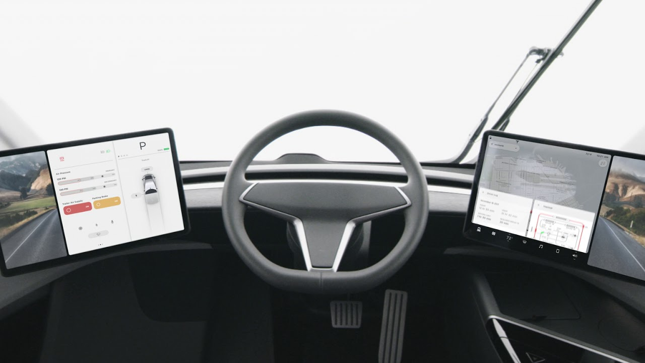 Interior Of The New Tesla Electric Semi Truck