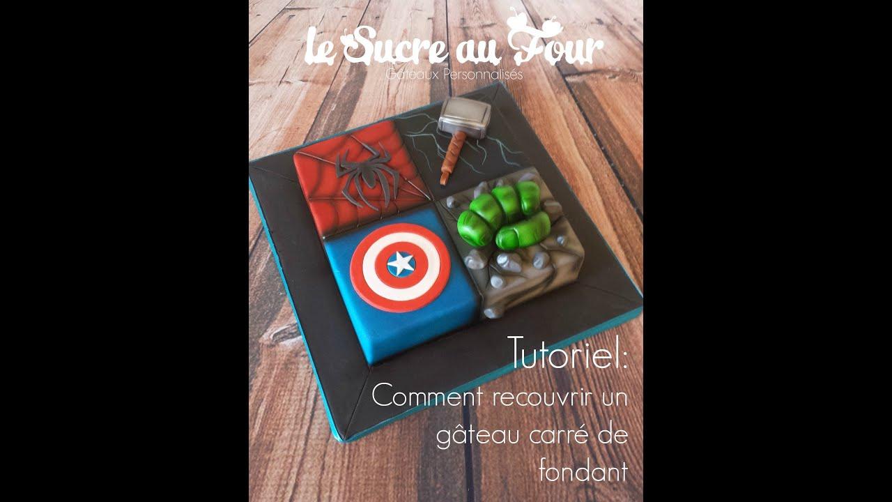 Très tutoriel: comment recouvrir un gâteau carré de fondant - YouTube BU77