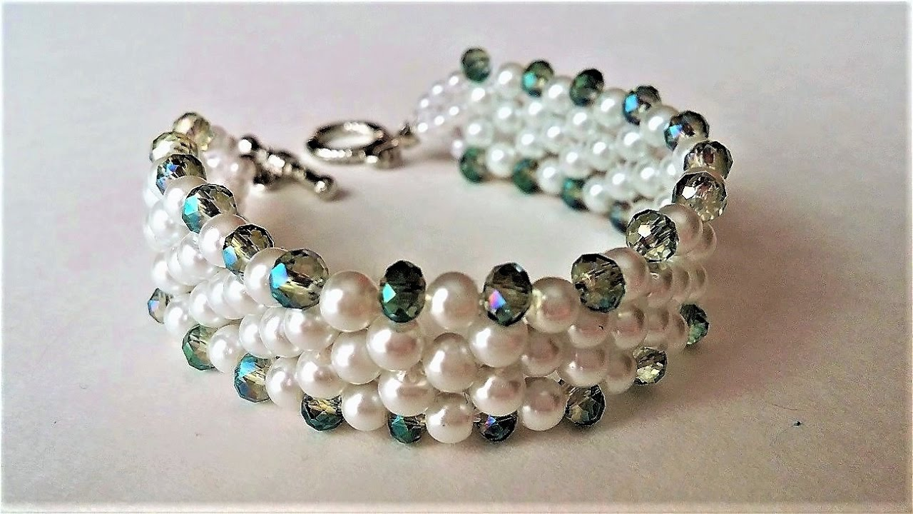 Elegant Evening Beaded Bracelet Diy Jewelry Pearls And Crystal Beads