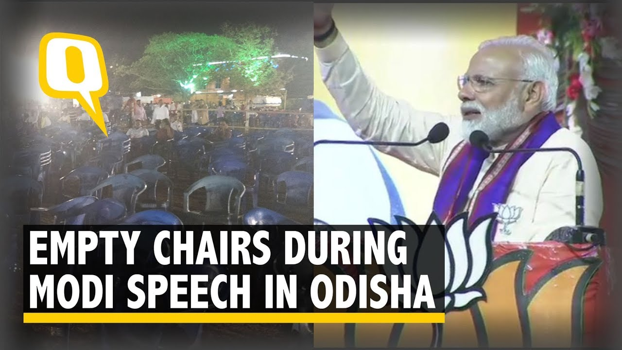 Hundreds of Empty Chairs While Modi Addresses Rally in Bhubaneswar