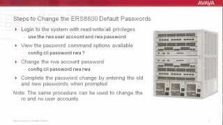 How to Change Default Passwords on the Avaya ERS8800