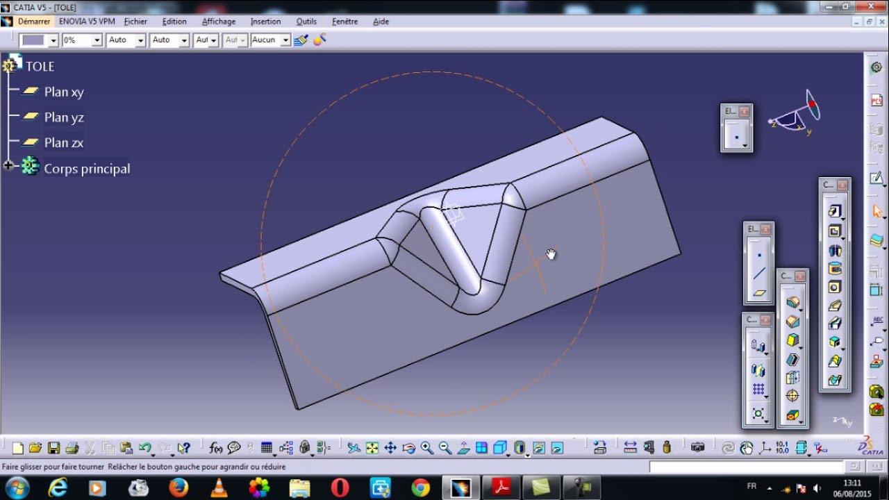Catia V5 Dessin D Un T 244 Le Drawing A Sheet Metal Youtube