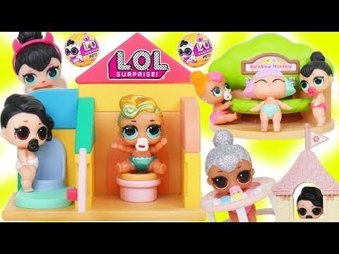 LOL Surprise Dolls + Lil Sisters go Shopping before Baby Nursery Toy School
