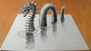 Amazing Loch Ness Monster Illusion - Drawing 3D Nessy - VamosART
