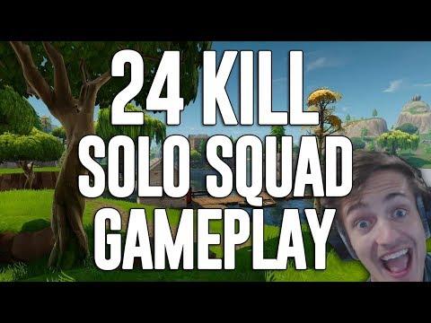 24 Kill Solo Squad Gameplay!! Fortnite Gameplay - Ninja