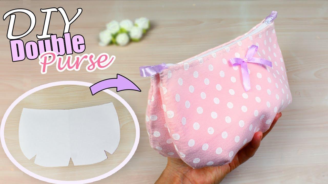957f31336351 DIY CUTE ZIPPER PURSE BAG TUTORIAL    Pink Dotted Pouch Idea - YouTube