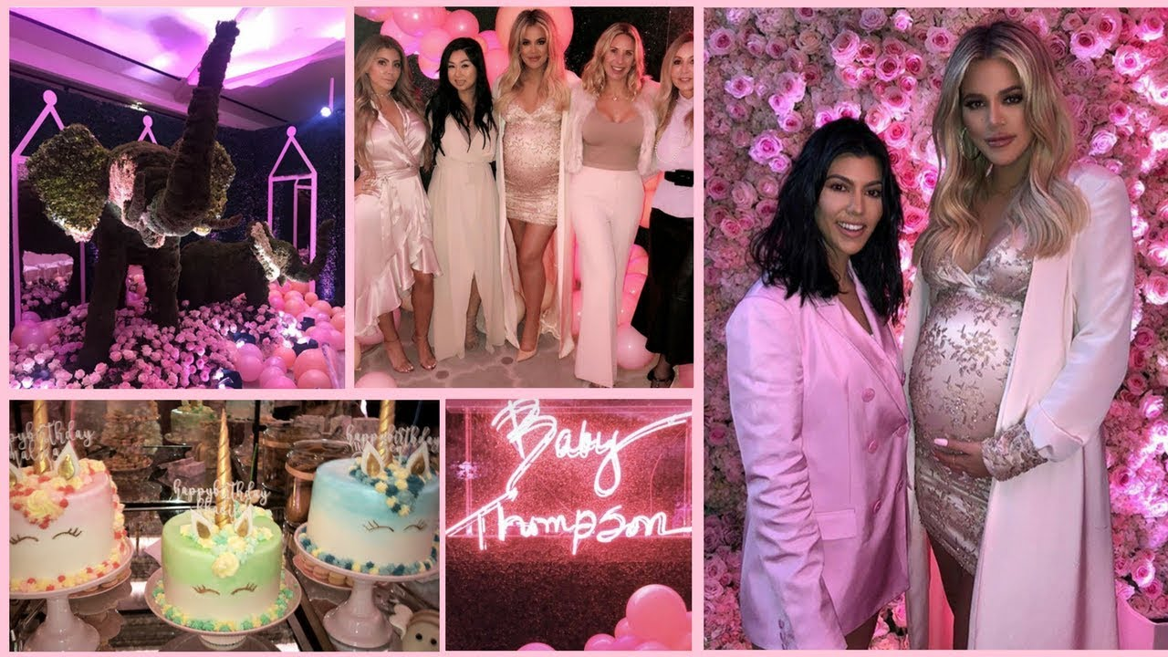 Khloe Kardashian Celebrates Baby Shower Party Full Youtube