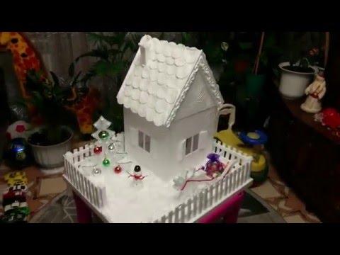 Домик из потолочной плитки. Поделка для детского сада.