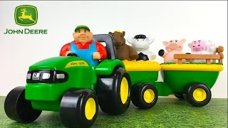 JOHN DEERE ANIMAL SOUNDS HAY RIDE WITH TRACTOR HORSE COW PIG AND SHEEP FARMER - OLD MCDONALD SOUND
