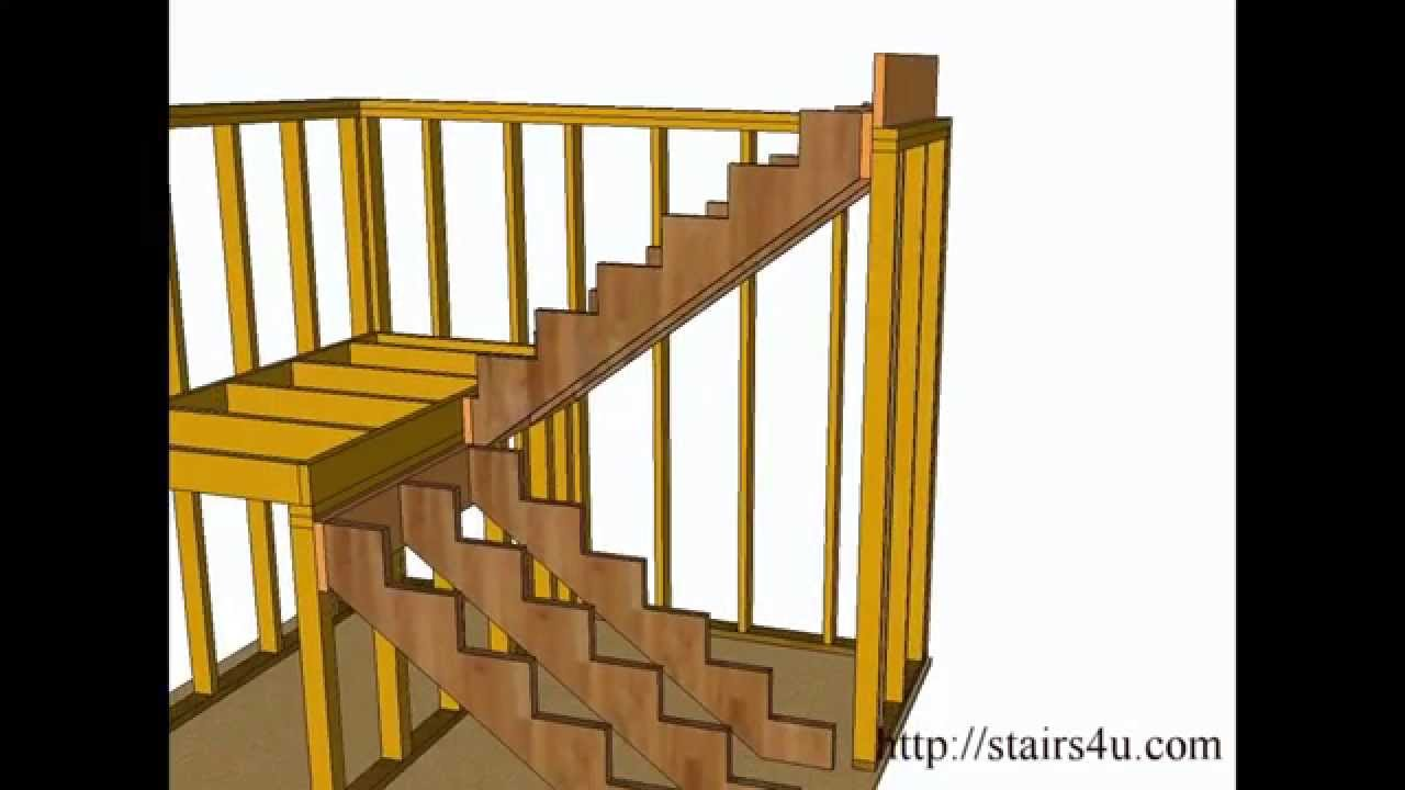 How to Build and Frame Stairs Landings - U-Shaped Stairs ...
