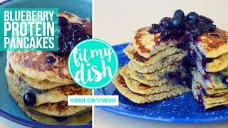 Blueberry Protein Pancakes // Fit My Dish