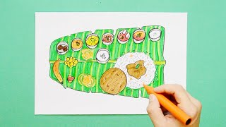 How to draw and color a Traditional South Indian Lunch on Banana Leaf