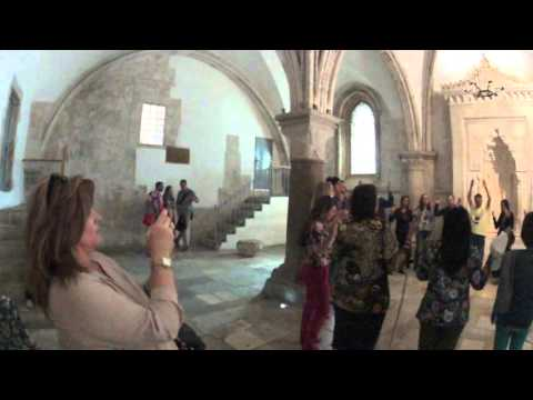 A moving Christian prayer in the Last Supper Room  (Cenacle), Mount Zion, Jerusalem, Israel