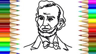 President Abraham Lincoln Coloring book | How to draw President Abraham Lincoln for Kids