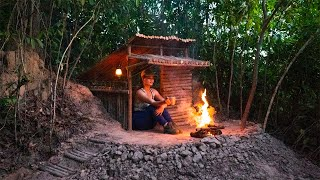 Survival Camping in Wood Shelter Overnight | Build most Beautiful Shelter | Amazing Forest at Night