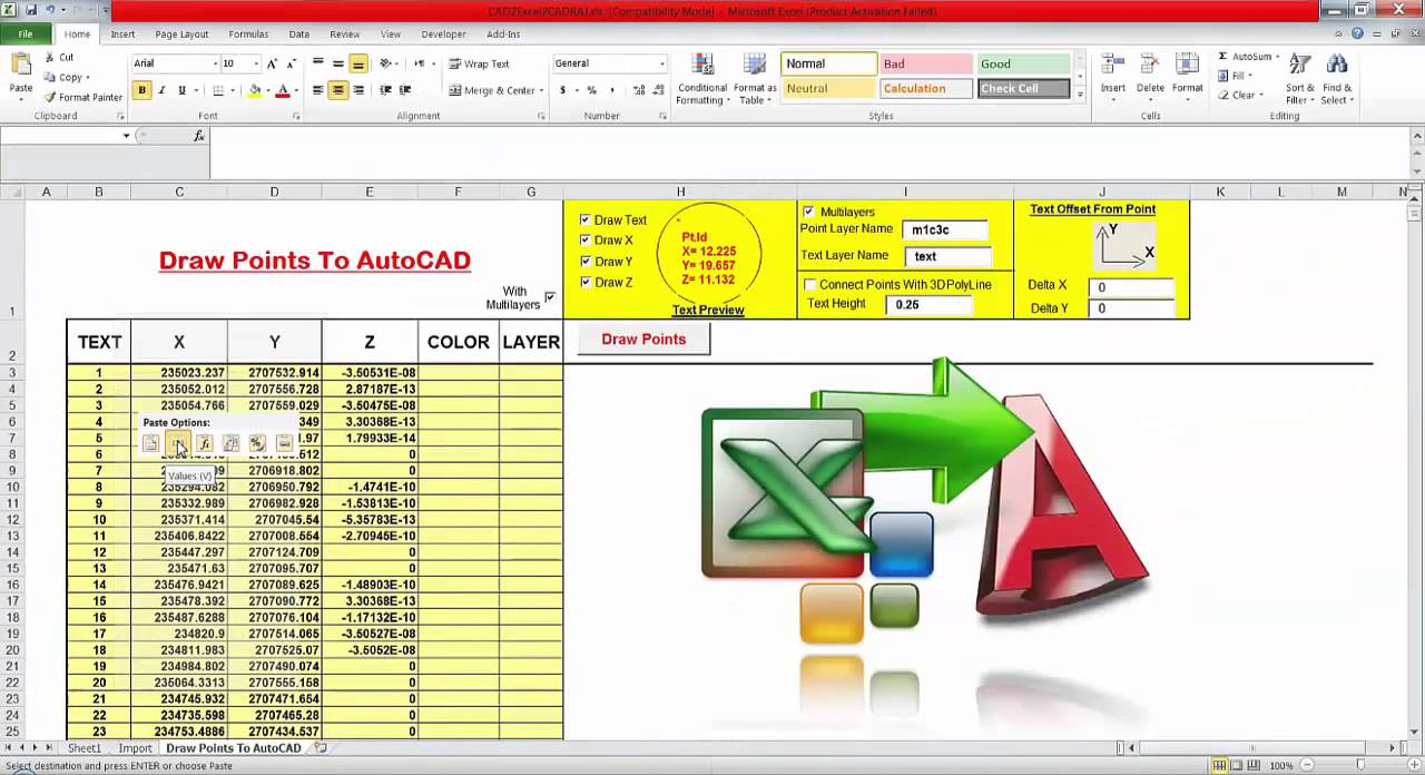 autocad to excel - excel to cad - extract coordinates from autocad