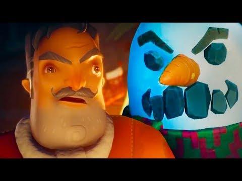 СЕКРЕТ СОСЕДА - Деда Мороза и Снеговика! Кид открывает двери в Secret Neighbor