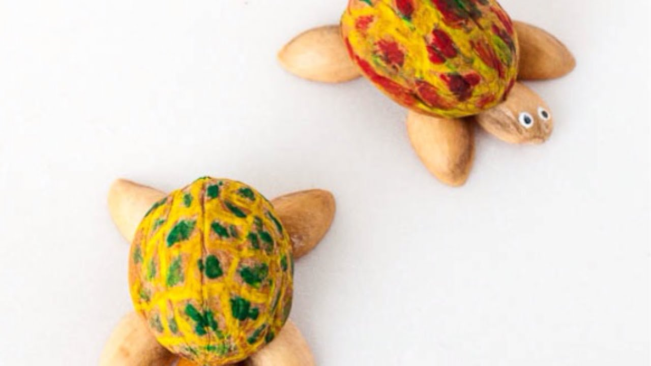 How to make cute walnut and pistachio shell turtles diy for Best out of waste topics