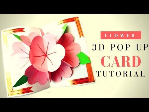 Открытка с цветами. Мастер класс Как сделать 3 D открытку с цветами на 8 марта. DIY из бумаги. смотреть в хорошем качестве