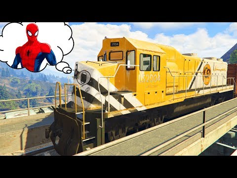 TRAIN TROUBLE | Spiderman saves Trains for Children Cartoon with Nursery Rhymes