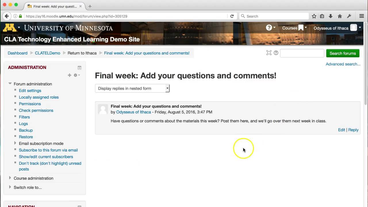 Moodle Tip: Collect Student Questions & Comments Using Single Simple  Discussion Forums