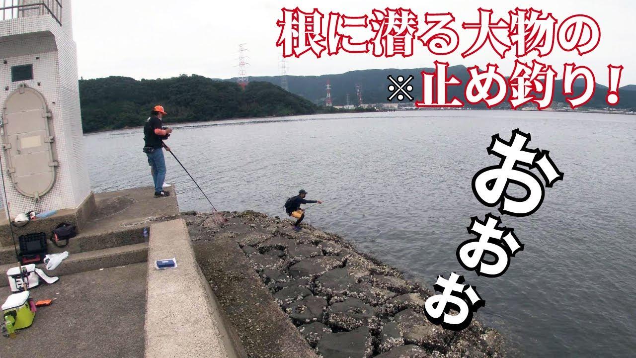 堤防先端下の岩場に潜った大物魚を止め釣りで引き釣り出す!!!