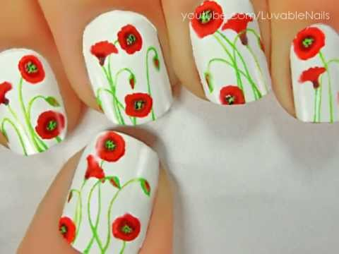 California Poppies Flowers nail art by LuvableNails