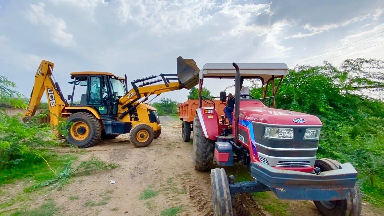 JCB 3dx Eco Excellence Loading sand in Trolley Mahindra Arjun NOVO 605 Di-i