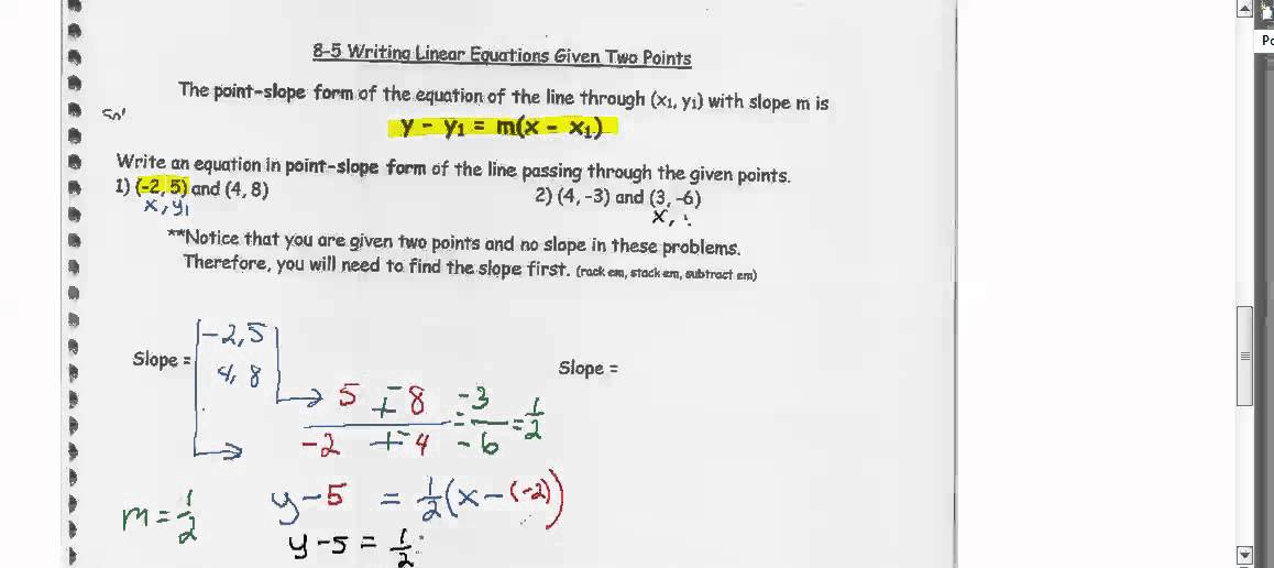 Point Slope Form When Two Points Are Given Youtube