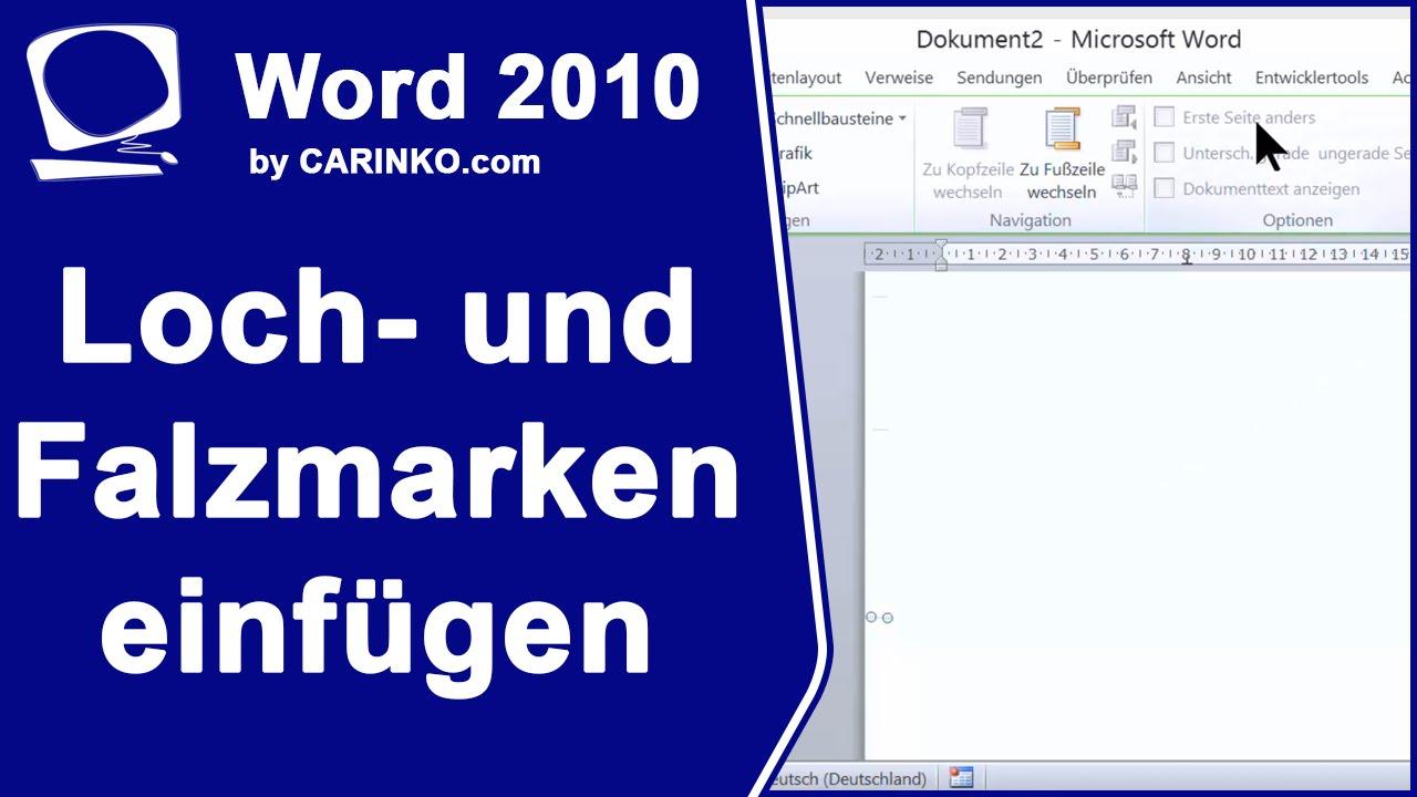 Loch Und Falzmarken In Word Einfügen Carinkocom Youtube