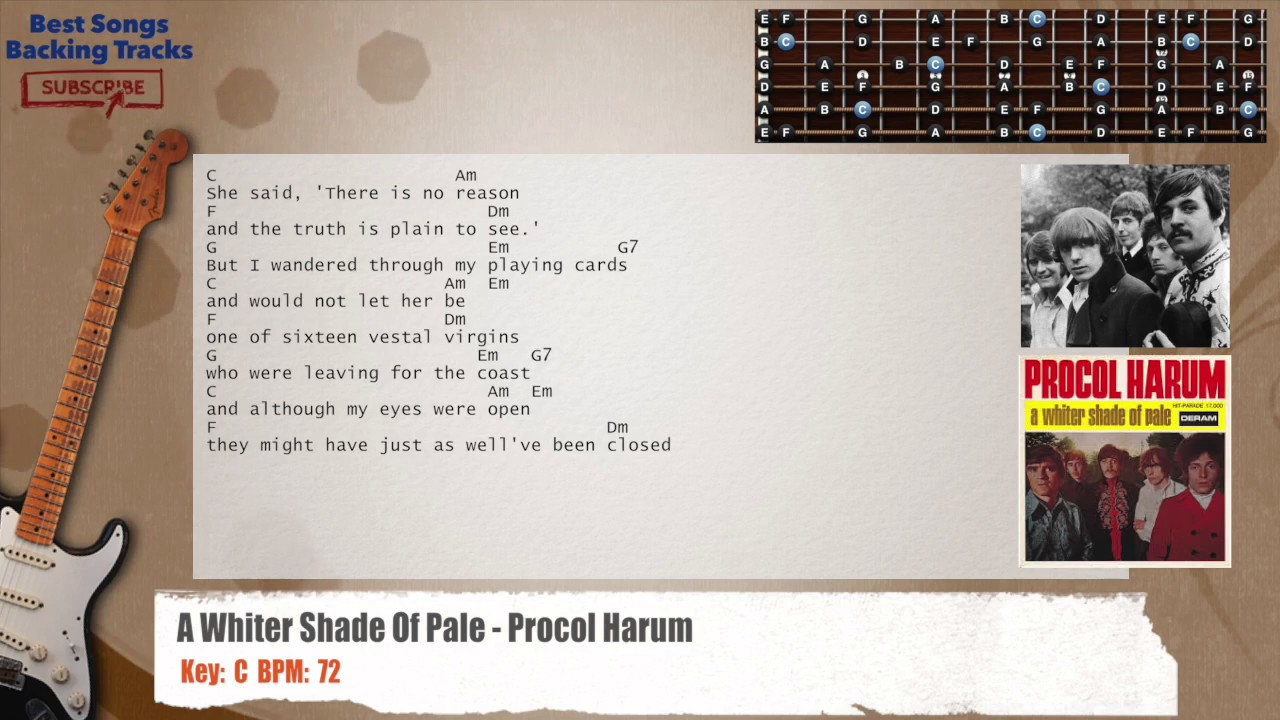 A Whiter Shade Of Pale Procol Harum Guitar Backing Track With