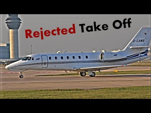 Rejected Take Off @ Manchester Airport! Cessna Citation Jet, RWY23L