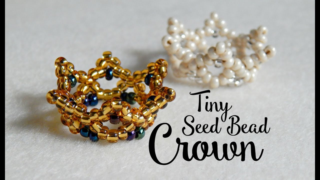 Diy tiny seed bead crown the corner of craft youtube for How to make beads craft